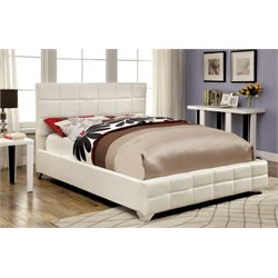 Furniture of America Sylva Queen Upholstered Leather Platform Bed