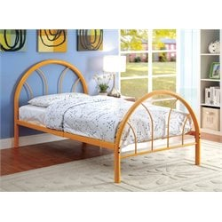 Furniture of America Capelli Twin Metal Arch Bed in Orange