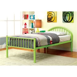 Furniture of America Capelli Twin Metal Slat Bed in Green