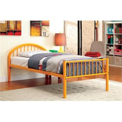 Furniture of America Capelli Twin Metal Slat Bed in Orange