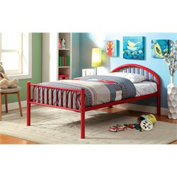 Furniture of America Capelli Twin Metal Slat Bed in Red