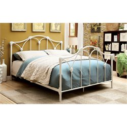 Furniture of America Maribell Queen Metal Bed in White