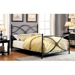 Furniture of America Aurora Full Metal Bed in Matte Black