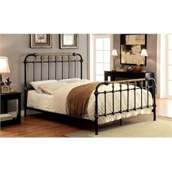 Furniture of America Cecil Twin Metal Spindle Bed in Black