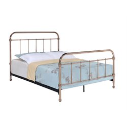 Furniture of America Gracie Full Metal Slat Bed in Rose Gold