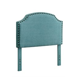 Furniture of America Davos Twin Upholstered Headboard in Light Blue