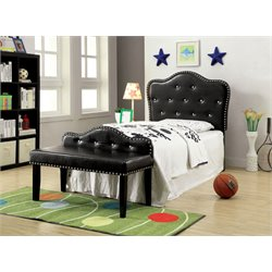 Furniture of America Cronin Twin Tufted Headboard with Bench in Black