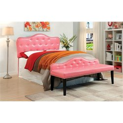 Furniture of America Cronin Full Queen Tufted Headboard with Bench