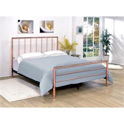 Furniture of America Constanza Full Metal Slat Bed in Rose Gold