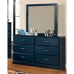 Furniture of America Geller 6 Drawer Dresser and Mirror Set in Blue