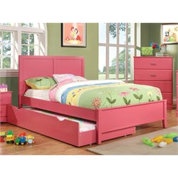 Furniture of America Geller Full Platform Panel Bed in Raspberry Pink