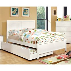 Furniture of America Geller Full Platform Panel Bed in Coconut White
