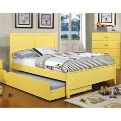 Furniture of America Geller Full Platform Panel Bed in Lemon Yellow