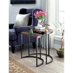 Furniture of America Addie 2 Piece Nesting Table in Weathered Oak