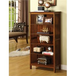Furniture of America Davis 5 Shelf Bookcase in Antique Oak
