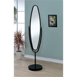 Furniture of America Clarice Oval Metal Cheval Mirror in Black