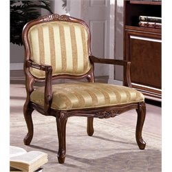 Furniture of America Antley Upholstered Accent Chair in Vintage Oak