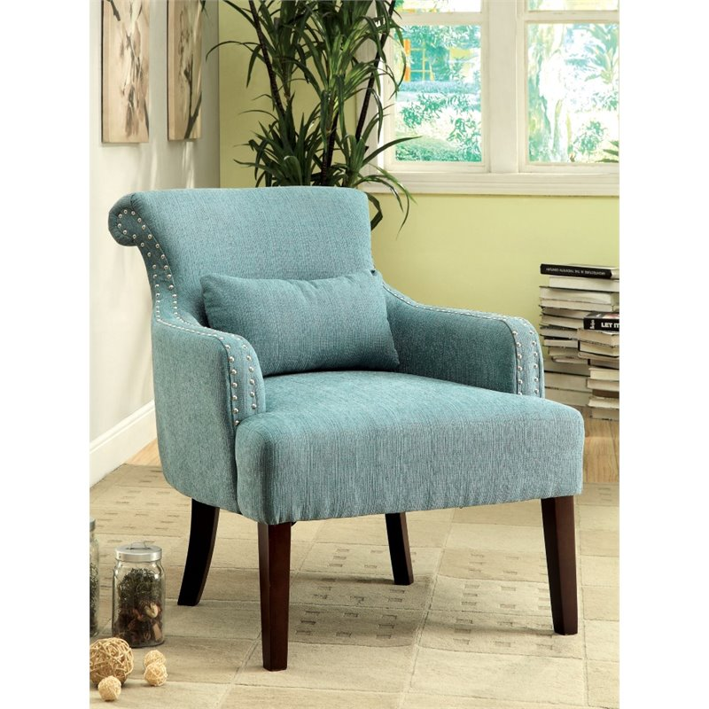 Furniture of america gabe upholstered accent chair in blue - Blue accent chairs for living room ...