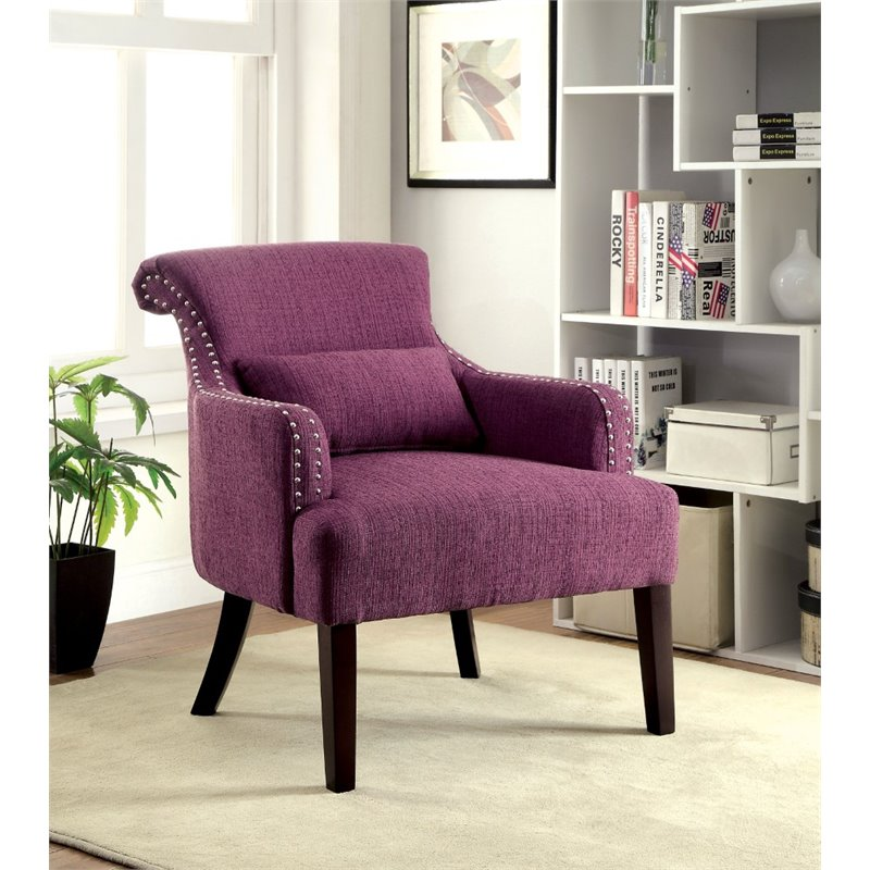 Furniture of america gabe upholstered accent chair in purple idf ac6113pr - Essential accent furniture for your home ...