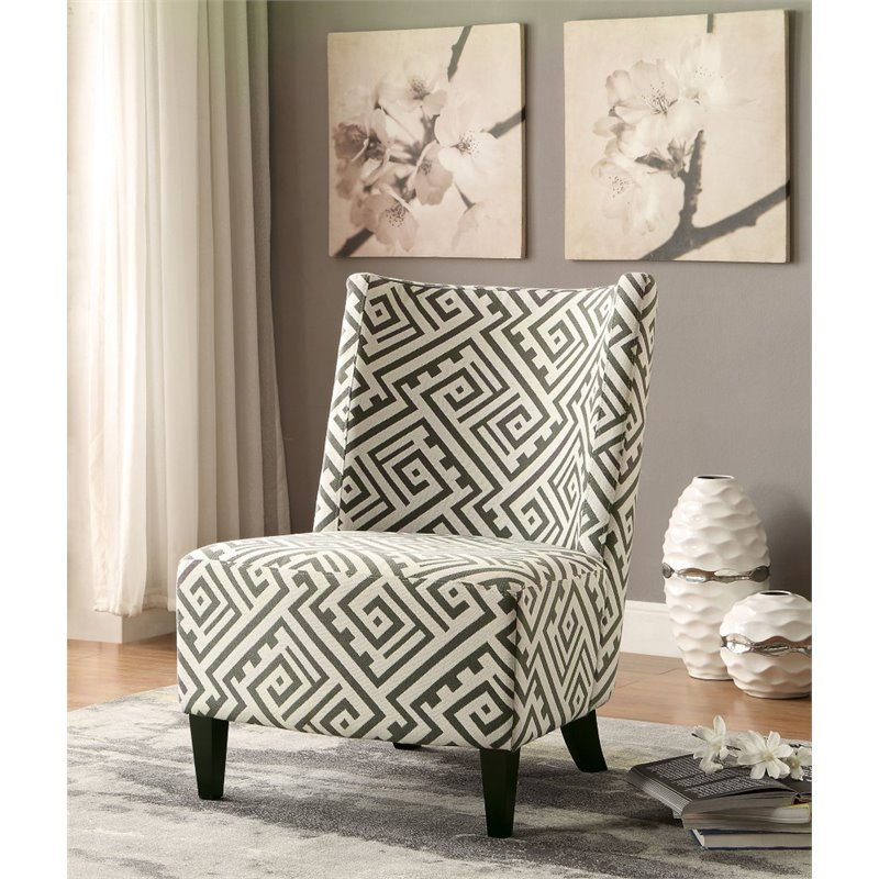 Furniture of America Ammie Accent Chair in Black and White