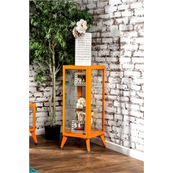 Furniture of America Elton Modern Metal Display Cabinet in Orange