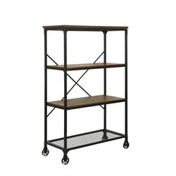 Furniture of America Guillory 4 Shelf Industrial Bookcase in Oak
