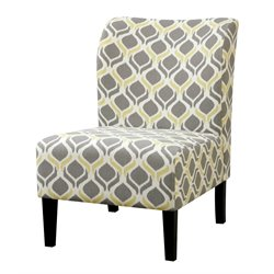 Furniture of America Sindy II Fabric Accent Chair in Yellow