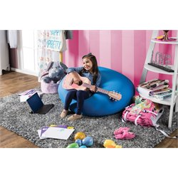 Furniture of America Zoomas Expandable Bean Bag Chair in Blue