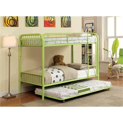 Furniture of America Capelli Full over Full Metal Bunk Bed in Green