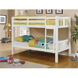 Furniture of America Yasmine Twin over Twin Bunk Bed in White