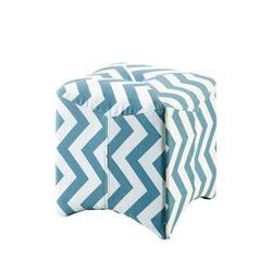 Furniture of America Calta Upholstered Cube Ottoman in Blue