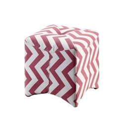 Furniture of America Calta Upholstered Cube Ottoman in Red