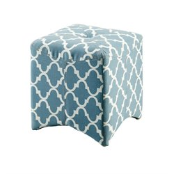 Furniture of America Fenna Upholstered Cube Ottoman in Blue