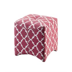 Furniture of America Fenna Upholstered Cube Ottoman in Red