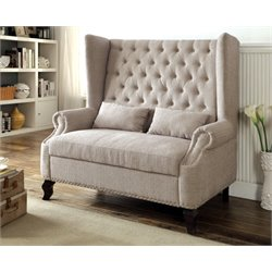 Furniture of America Mathis Tufted Settee in Beige