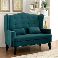 Furniture of America Simone Tufted Wingback Settee in Teal