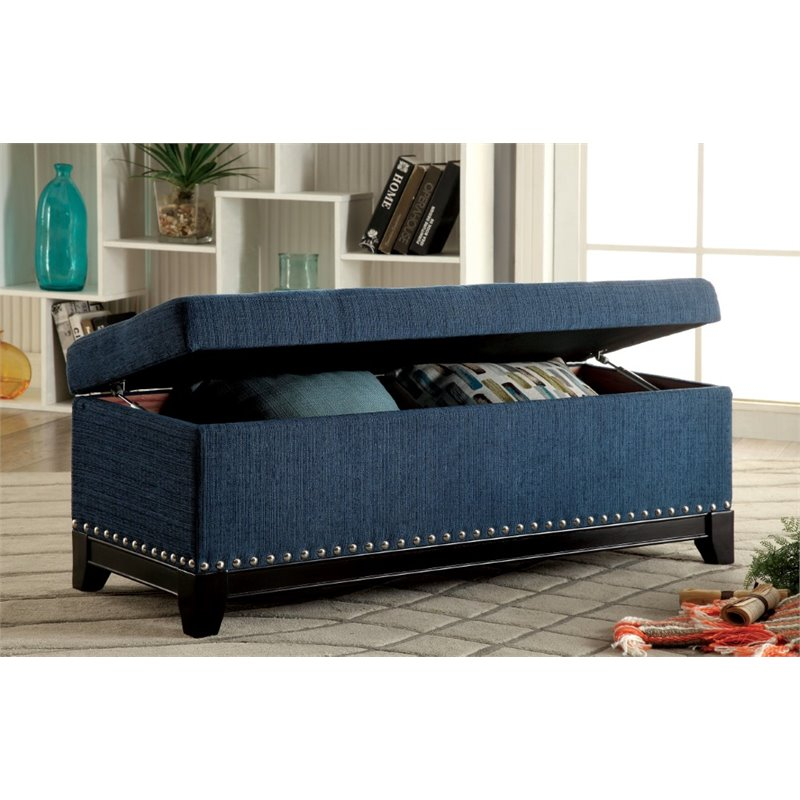 Furniture Of America Darcy Tufted Storage Bench In Teal