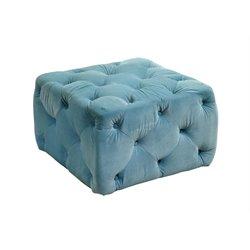 Furniture of America Bloom Square Tufted Upholstered Ottoman in Blue