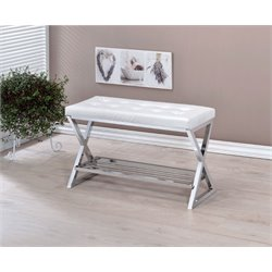 Dollie Tufted Faux Leather Bench