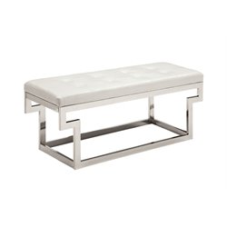 Jaxi Tufted Faux Leather Bench 1