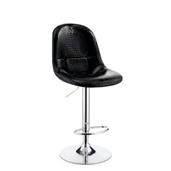 Furniture of America Umpton Adjustable Faux Leather Bar Stool in Black