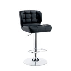 Furniture of America Birch Adjustable Faux Leather Bar Stool in Black
