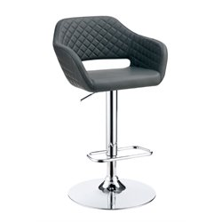 Furniture of America Vunley Adjustable Faux Leather Bar Stool in Gray