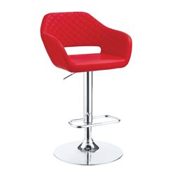 Furniture of America Vunley Adjustable Faux Leather Bar Stool in Red