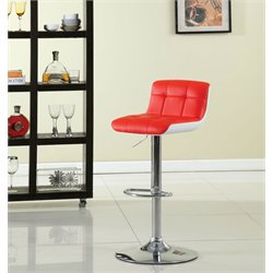 Furniture of America Andie Adjustable Swivel Bar Stool in Red