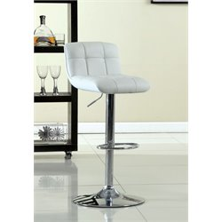 Furniture of America Andie Adjustable Swivel Bar Stool in White