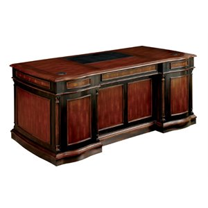 Furniture of America Gilmour Executive Desk in Cherry and Black