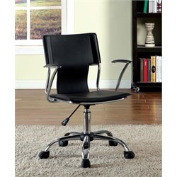 Furniture of America Keller Adjustable Leather Office Chair in Black