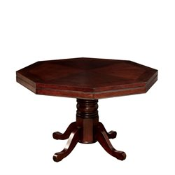 Furniture of America Deaton Faux Leather Game Table in Cherry