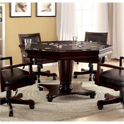 Furniture of America Spundy Pedestal Game Table in Dark Cherry